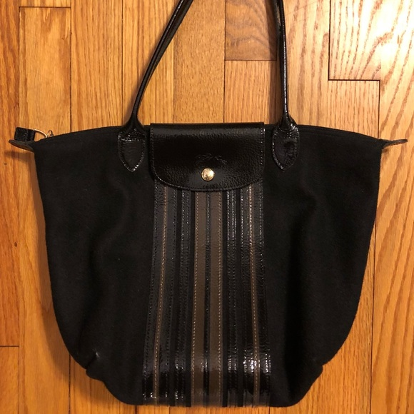 Longchamp Handbags - Longchamp Limited Edition Black Wool Stripes tote 1955f6422cfc8